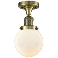 Innovations Lighting 517-1CH-AB-G201-6-LED Beacon LED 6 inch Antique Brass Semi-Flush Mount Ceiling Light Franklin Restoration