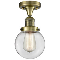 Innovations Lighting 517-1CH-AB-G202-6-LED Beacon LED 6 inch Antique Brass Semi-Flush Mount Ceiling Light Franklin Restoration