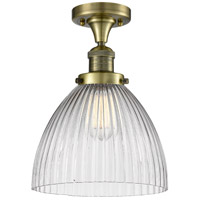 Innovations Lighting 517-1CH-AB-G222-LED Seneca Falls LED 10 inch Antique Brass Semi-Flush Mount Ceiling Light Franklin Restoration
