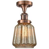 Chatham LED 6 inch Antique Copper Semi-Flush Mount Ceiling Light