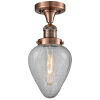 Innovations Lighting 517-1CH-AC-G165-LED Geneseo LED 7 inch Antique Copper Semi-Flush Mount Ceiling Light Franklin Restoration