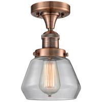 Innovations Lighting 517-1CH-AC-G172-LED Fulton LED 7 inch Antique Copper Semi-Flush Mount Ceiling Light Franklin Restoration