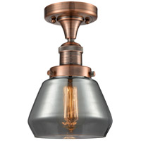Innovations Lighting 517-1CH-AC-G173-LED Fulton LED 7 inch Antique Copper Semi-Flush Mount Ceiling Light