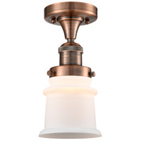 Innovations Lighting 517-1CH-AC-G181S-LED Small Canton LED 6 inch Antique Copper Semi-Flush Mount Ceiling Light Franklin Restoration