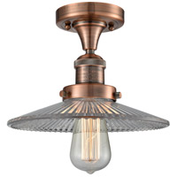 Innovations Lighting 517-1CH-AC-G2-LED Halophane LED 9 inch Antique Copper Semi-Flush Mount Ceiling Light