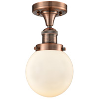 Innovations Lighting 517-1CH-AC-G201-6-LED Beacon LED 6 inch Antique Copper Semi-Flush Mount Ceiling Light, Franklin Restoration