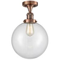 Innovations Lighting 517-1CH-AC-G202-10-LED X-Large Beacon LED 10 inch Antique Copper Semi-Flush Mount Ceiling Light Franklin Restoration