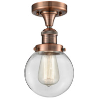 Innovations Lighting 517-1CH-AC-G202-6-LED Beacon LED 6 inch Antique Copper Semi-Flush Mount Ceiling Light, Franklin Restoration