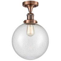 Innovations Lighting 517-1CH-AC-G204-10-LED X-Large Beacon LED 10 inch Antique Copper Semi-Flush Mount Ceiling Light, Franklin Restoration