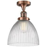 Innovations Lighting 517-1CH-AC-G222-LED Seneca Falls LED 10 inch Antique Copper Semi-Flush Mount Ceiling Light Franklin Restoration
