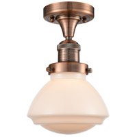 Innovations Lighting 517-1CH-AC-G321-LED Olean LED 7 inch Antique Copper Semi-Flush Mount Ceiling Light, Franklin Restoration