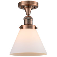 Innovations Lighting 517-1CH-AC-G41-LED Large Cone LED 8 inch Antique Copper Semi-Flush Mount Ceiling Light