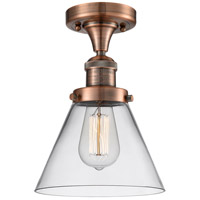 Innovations Lighting 517-1CH-AC-G42-LED Large Cone LED 8 inch Antique Copper Semi-Flush Mount Ceiling Light