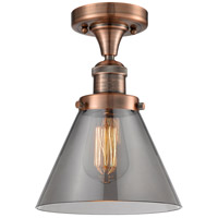 Innovations Lighting 517-1CH-AC-G43-LED Large Cone LED 8 inch Antique Copper Semi-Flush Mount Ceiling Light