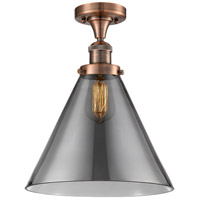 Antique Copper X-Large Cone Semi-Flush Mounts