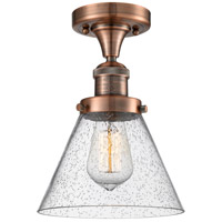 Innovations Lighting 517-1CH-AC-G44-LED Large Cone LED 8 inch Antique Copper Semi-Flush Mount Ceiling Light