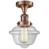 Innovations Lighting 517-1CH-AC-G532-LED Small Oxford LED 8 inch Antique Copper Semi-Flush Mount Ceiling Light