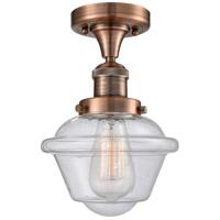 Innovations Lighting 517-1CH-AC-G534-LED Small Oxford LED 8 inch Antique Copper Semi-Flush Mount Ceiling Light Franklin Restoration
