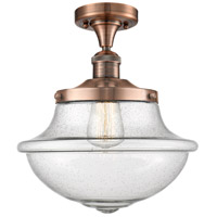 Innovations Lighting 517-1CH-AC-G544-LED Large Oxford LED 12 inch Antique Copper Semi-Flush Mount Ceiling Light, Franklin Restoration