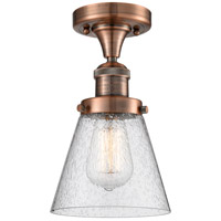 Innovations Lighting 517-1CH-AC-G64-LED Small Cone LED 7 inch Antique Copper Semi-Flush Mount Ceiling Light Franklin Restoration