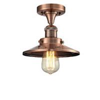 Innovations Lighting 517-1CH-AC-M3-LED Railroad LED 7 inch Antique Copper Semi-Flush Mount Ceiling Light