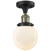 Innovations Lighting 517-1CH-BAB-G201-6 Beacon 1 Light 6 inch Black Antique Brass Semi-Flush Mount Ceiling Light Franklin Restoration