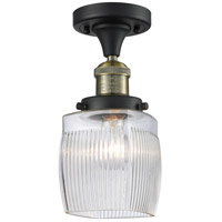Innovations Lighting 517-1CH-BAB-G302 Colton 1 Light 6 inch Black Antique Brass Semi-Flush Mount Ceiling Light, Franklin Restoration