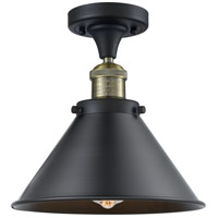 Innovations Lighting 517-1CH-BAB-M10-BK-LED Briarcliff LED 10 inch Black Antique Brass Semi-Flush Mount Ceiling Light Franklin Restoration