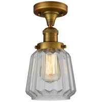 Innovations Lighting 517-1CH-BB-G142-LED Chatham LED 6 inch Brushed Brass Semi-Flush Mount Ceiling Light Franklin Restoration