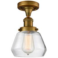 Innovations Lighting 517-1CH-BB-G172-LED Fulton LED 7 inch Brushed Brass Semi-Flush Mount Ceiling Light Franklin Restoration