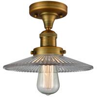 Innovations Lighting 517-1CH-BB-G2-LED Halophane LED 9 inch Brushed Brass Semi-Flush Mount Ceiling Light Franklin Restoration