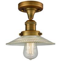 Innovations Lighting 517-1CH-BB-G2-LED Halophane LED 9 inch Brushed Brass Semi-Flush Mount Ceiling Light, Franklin Restoration