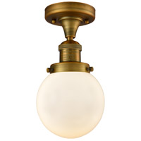 Innovations Lighting 517-1CH-BB-G201-6 Beacon 1 Light 6 inch Brushed Brass Semi-Flush Mount Ceiling Light, Franklin Restoration