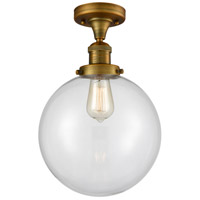 Innovations Lighting 517-1CH-BB-G202-10 X-Large Beacon 1 Light 10 inch Brushed Brass Semi-Flush Mount Ceiling Light, Franklin Restoration