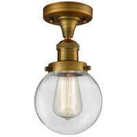 Innovations Lighting 517-1CH-BB-G202-6 Beacon 1 Light 6 inch Brushed Brass Semi-Flush Mount Ceiling Light, Franklin Restoration