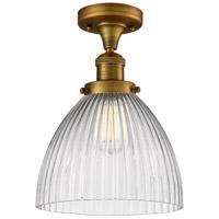 Innovations Lighting 517-1CH-BB-G222-LED Seneca Falls LED 10 inch Brushed Brass Semi-Flush Mount Ceiling Light Franklin Restoration