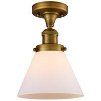 Innovations Lighting 517-1CH-BB-G41-LED Large Cone LED 8 inch Brushed Brass Semi-Flush Mount Ceiling Light, Franklin Restoration
