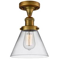 Innovations Lighting 517-1CH-BB-G42-LED Large Cone LED 8 inch Brushed Brass Semi-Flush Mount Ceiling Light Franklin Restoration