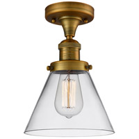 Innovations Lighting 517-1CH-BB-G42-LED Large Cone LED 8 inch Brushed Brass Semi-Flush Mount Ceiling Light, Franklin Restoration