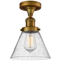 Innovations Lighting 517-1CH-BB-G44-LED Large Cone LED 8 inch Brushed Brass Semi-Flush Mount Ceiling Light Franklin Restoration