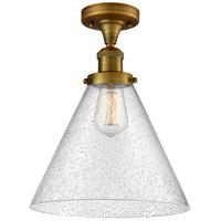 Innovations Lighting 517-1CH-BB-G44-L-LED X-Large Cone LED 12 inch Brushed Brass Semi-Flush Mount Ceiling Light Franklin Restoration