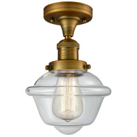 Innovations Lighting 517-1CH-BB-G532 Small Oxford 1 Light 8 inch Brushed Brass Semi-Flush Mount Ceiling Light, Franklin Restoration