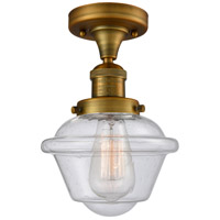 Innovations Lighting 517-1CH-BB-G534 Small Oxford 1 Light 8 inch Brushed Brass Semi-Flush Mount Ceiling Light, Franklin Restoration