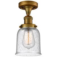 Innovations Lighting 517-1CH-BB-G54-LED Small Bell LED 5 inch Brushed Brass Semi-Flush Mount Ceiling Light Franklin Restoration