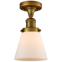 Innovations Lighting 517-1CH-BB-G61-LED Small Cone LED 7 inch Brushed Brass Semi-Flush Mount Ceiling Light Franklin Restoration