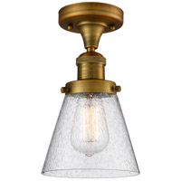 Innovations Lighting 517-1CH-BB-G64-LED Small Cone LED 7 inch Brushed Brass Semi-Flush Mount Ceiling Light Franklin Restoration