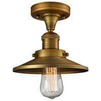 Innovations Lighting 517-1CH-BB-M4-LED Railroad LED 7 inch Brushed Brass Semi-Flush Mount Ceiling Light Franklin Restoration