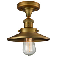Innovations Lighting 517-1CH-BB-M4-LED Railroad LED 7 inch Brushed Brass Semi-Flush Mount Ceiling Light, Franklin Restoration