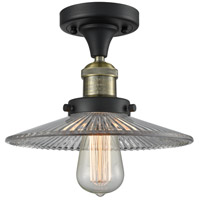 Halophane 1 Light 10 inch Black and Brushed Brass Semi-Flush Mount Ceiling Light