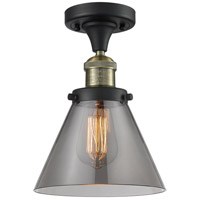 Signature 1 Light 8 inch Black and Brushed Brass Semi-Flush Mount Ceiling Light, Large, Cone